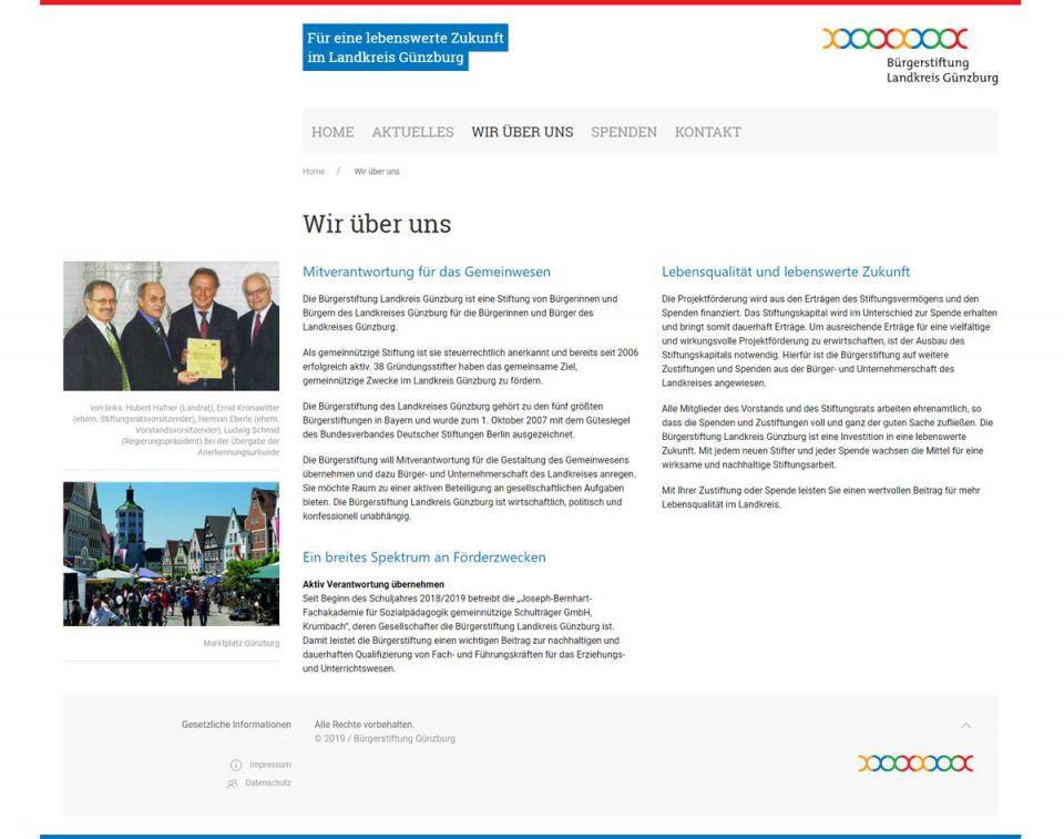 Redesign Website der Bürgerstiftung Landkreis Günzburg
